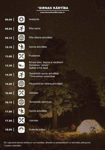 Camp Timetable dienas rudens